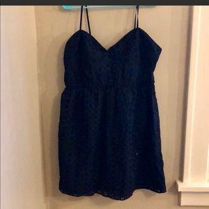 NET JCREW NAVY EYELET DRESS